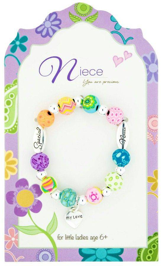 Niece Colorful Beaded Love Bracelet, Carded kids bracelet, faith bracelet, faith bracelet, sacramental gift, bracelet, niece bracelet, girl gift, 203-017