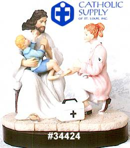Nurse and Jesus Statue nurse gift, medical gift, nurse statue, medical statue, nurse and jesus statue, 34424