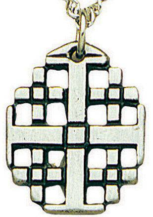 "Open Jerusalem Cross Necklace cross necklace, open cross necklace, jerusalem necklace, 18"" chain, 912, jewelry necklace,"
