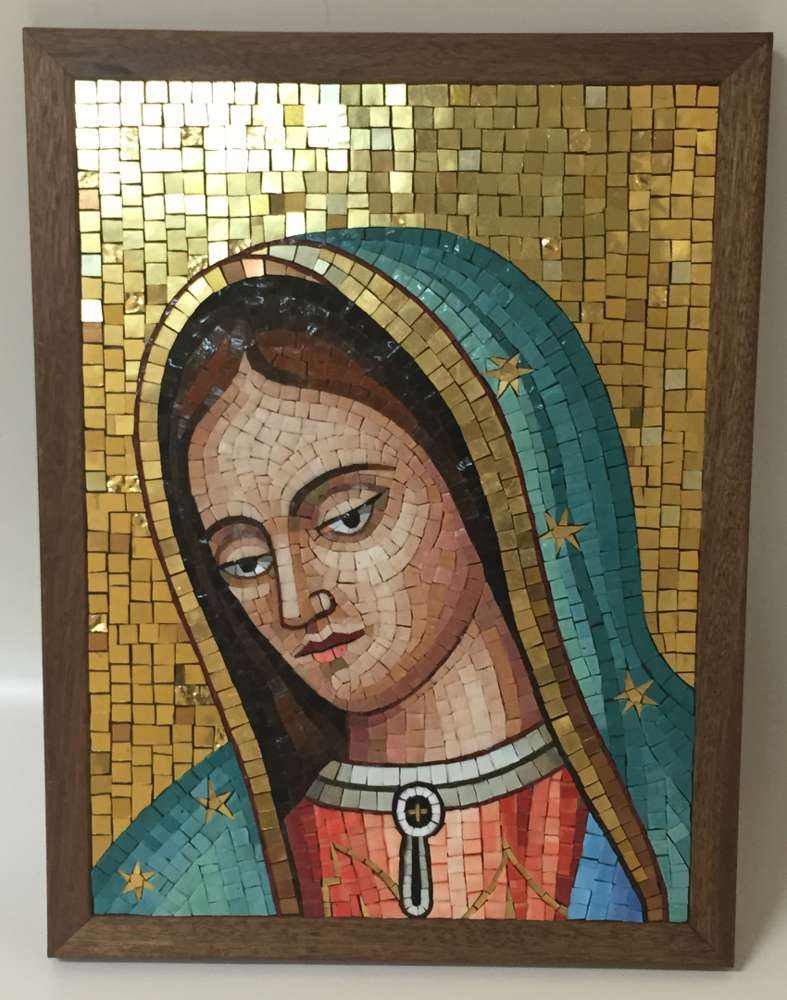 Our Lady Of Guadalupe Mosaic Wall Plaque, Made In Italy