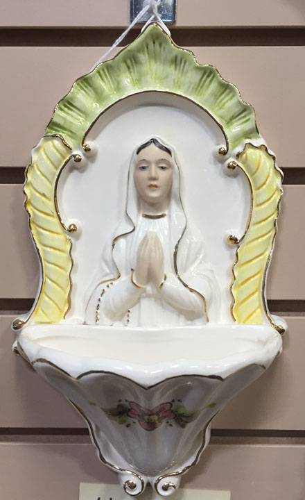 Our Lady of Lourdes Della Robbia Holy Water Font *WHILE SUPPLIES LAST* font, holy water font, figurine holy water font, wall font, figurine font, our lady holy font,