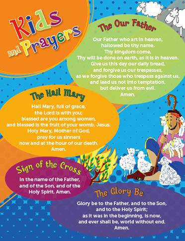 Oversized Children%27s Prayers Card prayer card, laminated card, childrens prayer card, oversized, large, color prayer card, prayer companion, 978-1-61261-841-8