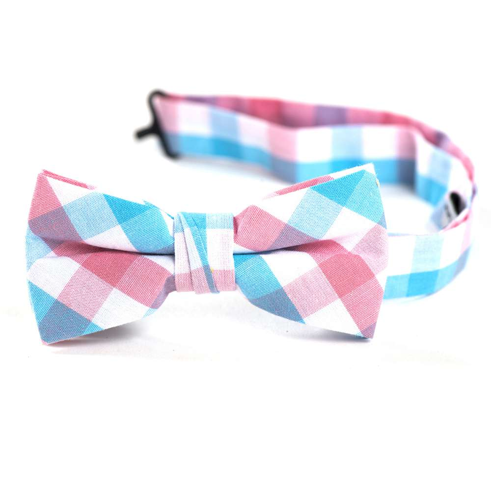 Aqua, Pink and White Gingham Bow Tie bow tie, bowtie, boys tie, first communion tie, boys first commuion apparel, first communion apparel, boys communion tie, boys tie, boy%27s tie, boys plaid tie, plaid tie, neckties