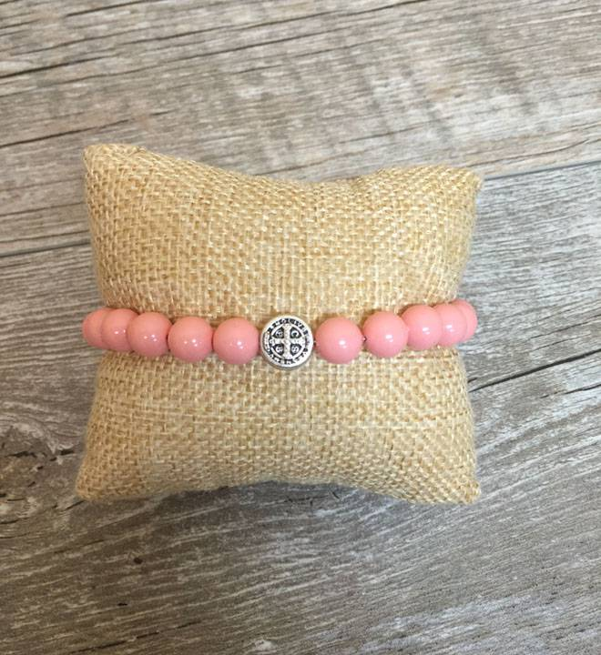 Pearl Blessing Bracelet with Pink Coral Swarovski Pearl Beads benedictine