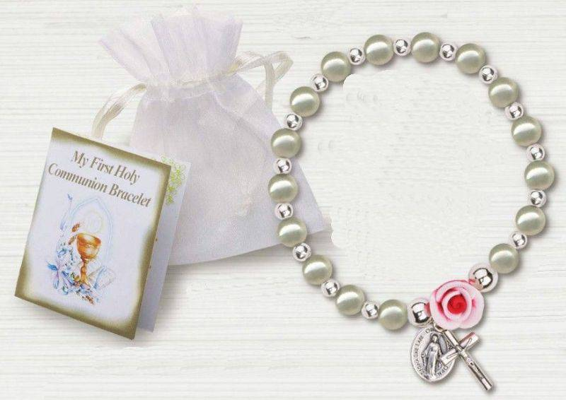 Pearl and Rose First Communion Bracelet first communion, bracelet, jewelry, sacramental jewelry, gift, MM2580