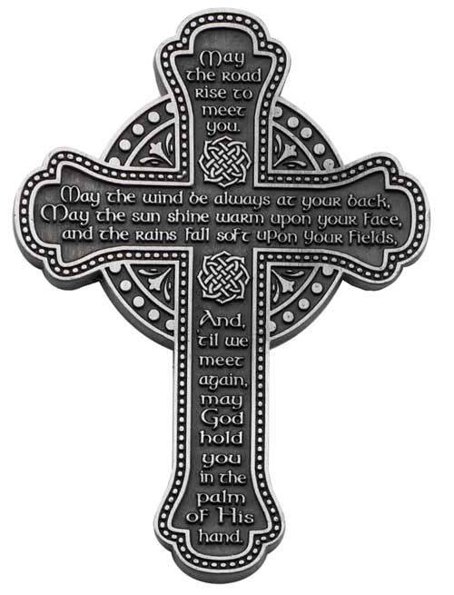 Pewter Irish Blessing Wall Cross wall cross, wall cross no corpus, cross gift, wedding gift, sacramental gift, first communion gift, confirmation gift, RCIA gift, reconciliation gift, pewter cross, irish cross, irish blessing cross