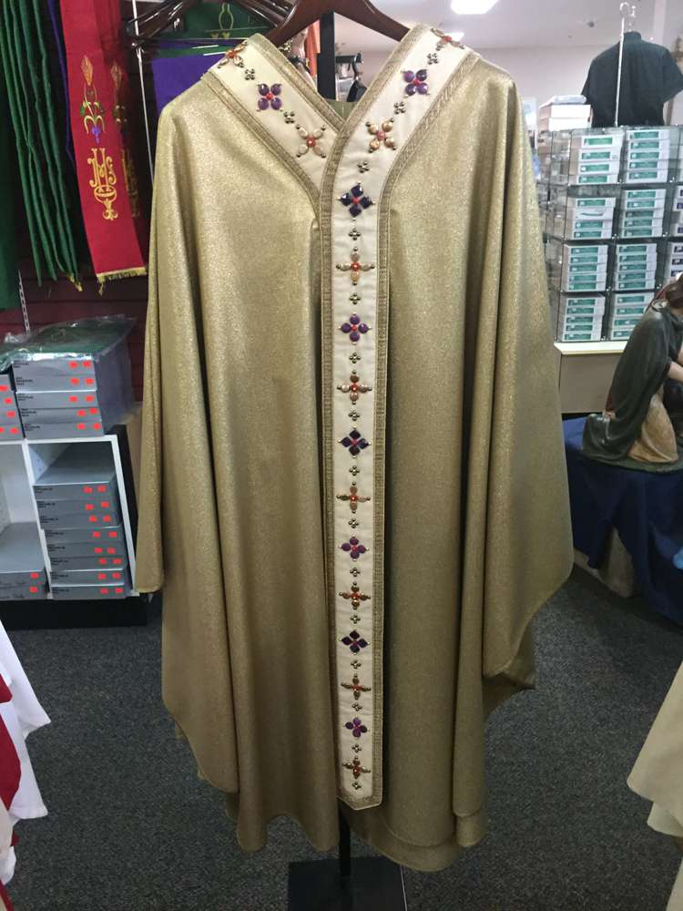 Pietrobon Bruno Gold Chasuble Lana Lurex with Natural Stones