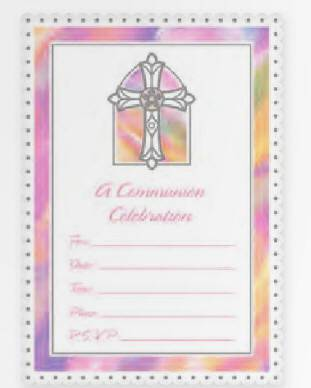 Pink Cross Communion Invitations 498538,first communion partyware, pink partyware, girl first communion , girl first communion party, first communion party, paper products, pink invitations, girl invitations, first communion invitations