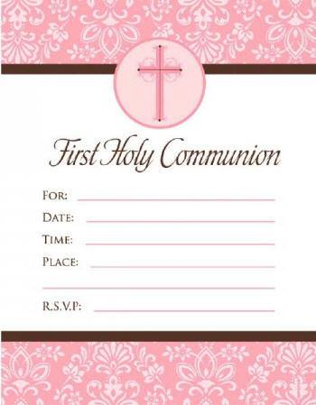 Pink Cross First Communion Invitations 790005,first communion partyware, pink partyware, girl first communion , girl first communion party, first communion party, paper products, pink invitations, girl invitations, first communion invitations