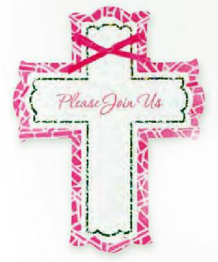 Pink Cross Invitation*WHILE SUPPLIES LAST* 493929,first communion partyware, pink partyware, girl first communion , girl first communion party, first communion party, paper products, pink invitations, girl invitations, first communion invitations