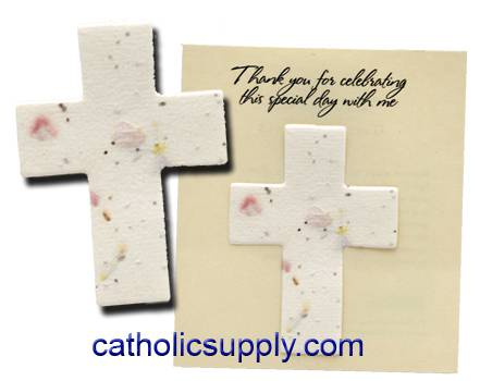 Plantable Cross Seeded Favor party favor, seeded paper,   cross seed paper, wedding favor, baptism favor