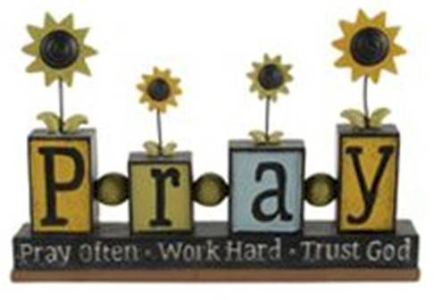 %27Pray%27 Blocks with Sunflowers*WHILE SUPPLIES LAST* home decor, pray decor,sunflower decor, inspirational message, block sign, pray often, work hard, trust god, 1511-10278