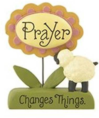 %27Prayer Changes Things%27 Sheep and Flower on Base home decor, table decor, flower decor, flower on base.  prayer message, inspirational decor, 1511-10121