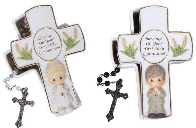 Precious Moments Cross Box with Rosary first communion gift, first communion keepsake box, boy gift, girl gift, cross box, rosary holder, rosary box, holy eucharist gift, sacramental gift, pearl rosary, black rosary