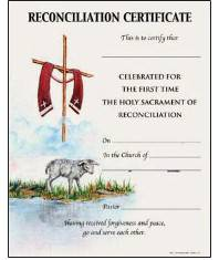 Reconciliation Certificate with Envelope certificate, church goods, sacramental certificates, baptism, first communion, confirmation, marriage, death,200R
