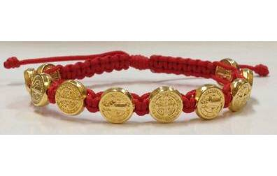 Red/Gold Benedictine Bracelet bracelet, blessing bracelet, medjugorje bracelet, st benedict bracelet, colored bracelet, handmade bracelets, girl gift, boy gift, sacramental gift, healing gift, prayer gift, first communion gift, reconciliation gift, confirmation gift, graduation gift, quantity discounts,