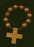 Redwood Finger Rosary rosary, finger rosary, red wood bead, brown wood bead,00347,, italian beads