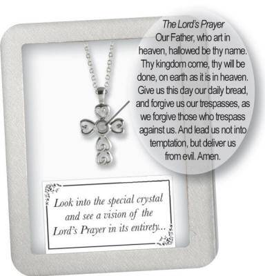 Silver Plated Lords Prayer Cross first communion cross, cross necklace, holy eucharist necklace, crystal cross, cross with chain, first communion gift, silver plated cross