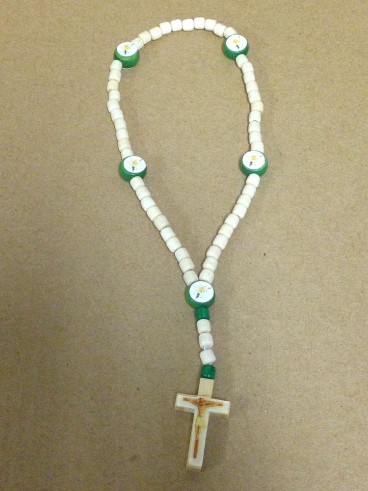Small White Wood Elastic Rosary