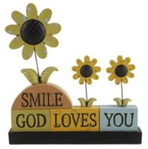 %27Smile God Loves You%27 Blocks with Sunflowers block sign, smile message, inspirational message, table top decor, block decor, colorful decor, 1511-10277