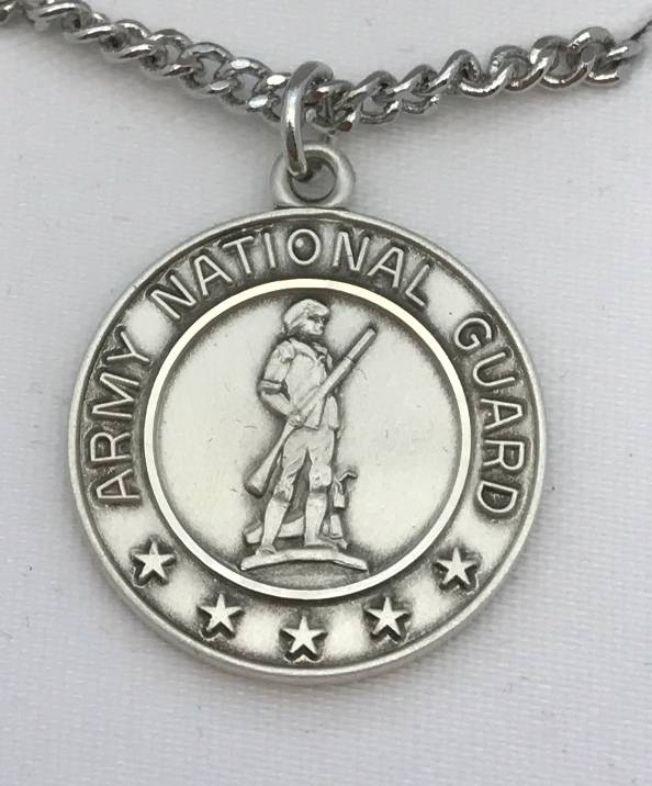 "Sterling Silver Army National Guard Medal on 24"" Chain military medal, round medal, sterling silver medal, army national guard, st christopher medal, JC-349/1MFT"