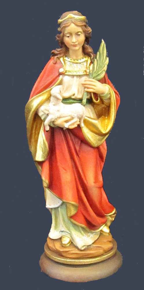 St. Agnes Statue solid wood statue, hand carved statue, italian made state, maple wood statue, home decor, church decor, colored statue, st agnes statue, 5090A/20