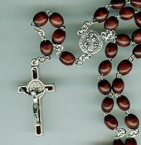 St. Benedict Brown Rosary medjugorje, st. benedict rosary, wood rosary, mission rosary, brown wood,  italian made, sacramental rosary, 00328,sacramental gift,