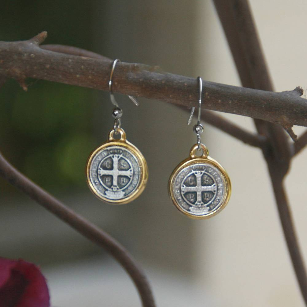 St. Benedict Earrings st benedict earrings, sacramental earrings, confirmation gift, special occasion gift, in-45, medjugorje