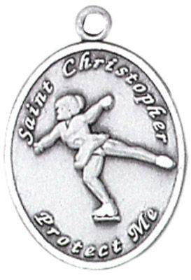 St. Christopher Sports Medals-Figure Skating silver necklace, st. christopher necklace, sports necklace, girl necklace, boy necklace, athlete gift,  first communion gift, reconciliation gift, sacramental gift, sport gift, figure skating gift, figure skating medal