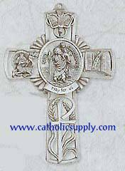 St. Christopher Wall Cross new baby gift, new baby, baptism, baptism gift, christening, christening gift, st. christopeher gift, wall cross, patron saint wall cross, boys cross, pewter wall cross, pewter cross, cross with prayer card