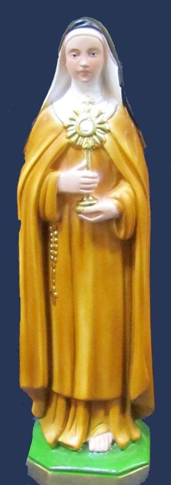 St. Clare Statue plaster statue, italian plaster, made in italy, hand painted statue, home decor, church decor, SGC30
