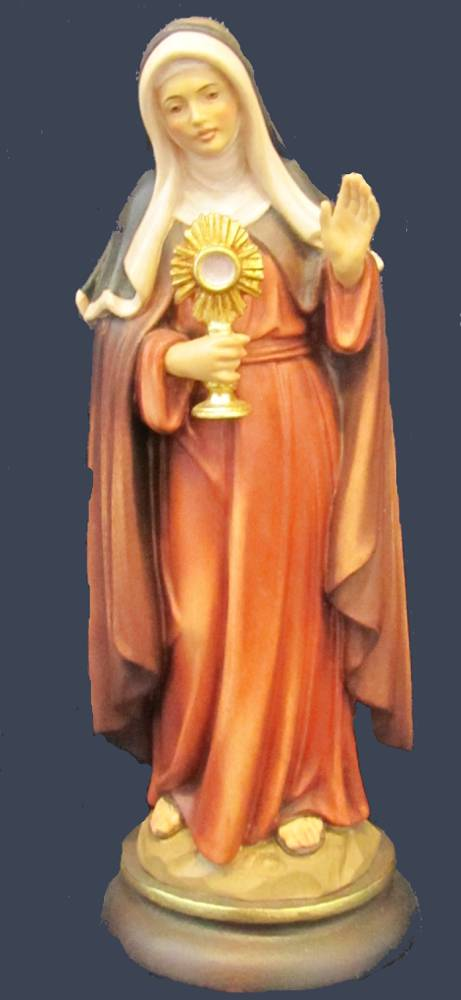 St. Clare Statue solid wood statue, hand carved statue, italian made state, maple wood statue, home decor, church decor, colored statue, st. clare statue, 5023K/20