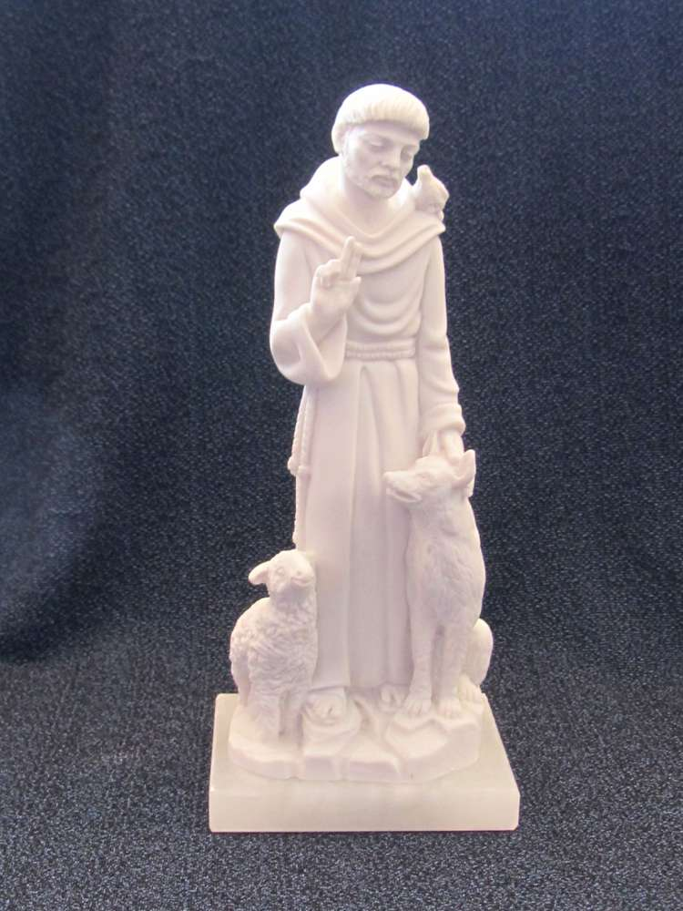 St. Francis Statue st francis, patron saint of animals, st francis with wolf and lamb, home decor, church decor, marble statue, 01276