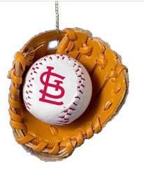 St. Louis Cardinals Baseball in Glove Ornament  baseball, sports ornament, ball ornament, cardinals, cardinal ornament, cardinal