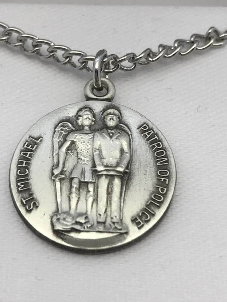 St. Michael Patron of Police Medal on Chain patron saint necklace, sterling silver necklace, pendant on chain, round medal,  jewelry, gift, jc-121/1mft, patron of police