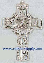 St. Michael Pewter Wall Cross wall cross, patron saint cross, pewter cross, baptism cross, first communion cross, reconciliation cross, confirmation cross, christening cross, eucharist cross, sacramental gift, baptism gift, christening gift, special occasion gift