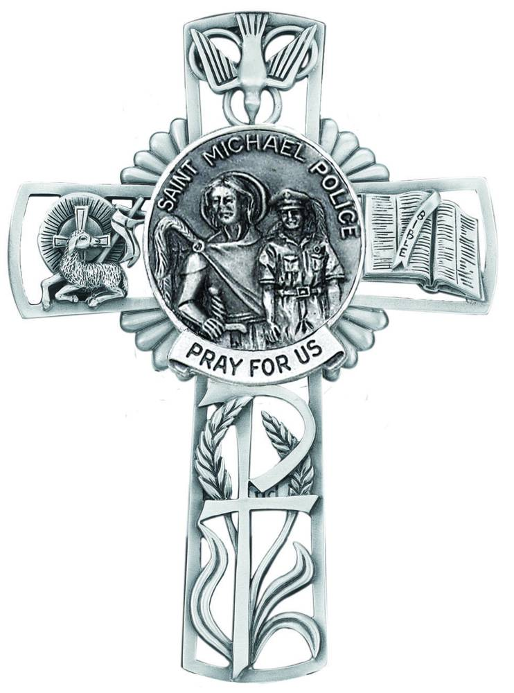 St. Michael/Police Pewter Wall Cross wall cross, patron saint cross, pewter cross, baptism cross, first communion cross, reconciliation cross, confirmation cross, christening cross, eucharist cross, sacramental gift, baptism gift, christening gift, special occasion gift