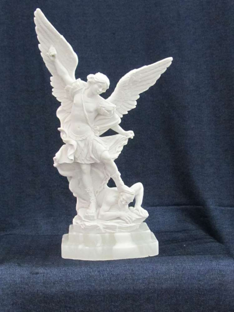 St. Michael the Archangel Statue st michael statue, marble statue, italian statue, home decor, church decor, patron saint of policeofficers, 1250.31