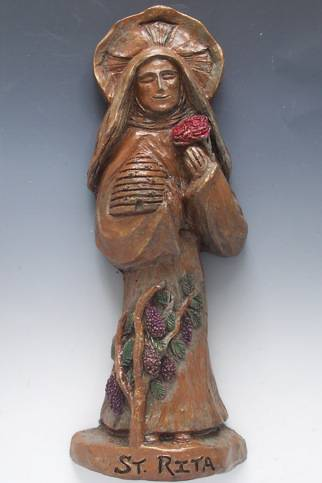 St. Rita Of Cascia Handmade StatueWHILE SUPPLIES LAST patron saint statue, saint statue, handmade, outdoor statue, indoor statue,  home decor, home gift, st rita os cascia statue, patron saint of those in difficult or impossible situations