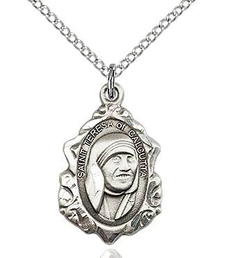 "St. Teresa of Calcutta Sterling Silver Fancy Medal on 18""Chain MT,mother theresa statue, saint mother teresa, saint teresa, head of mother theresa, saint statue, marble statue, home decor, church decor, banner, altar decor, 0812SS/18S"