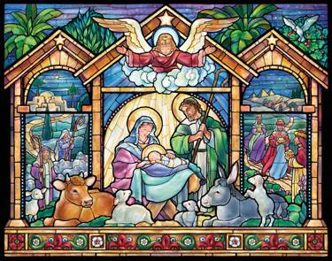 Stained Glass Nativity Advent Calendar