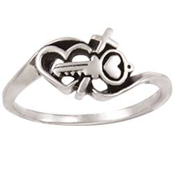 Sterling Silver Ladies%27 Cross Christian Purity Ring - Key/Heart purity rings, purity ring, save yourself for marriage