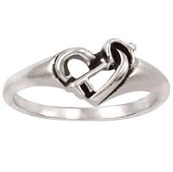 Sterling Silver Ladies%27 Heart Christian Purity Ring - Key purity rings, purity ring, save yourself for marriage