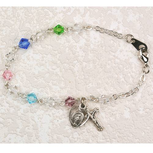 Sterling Silver and Multi Colored Crystal Bracelet miraculous medal bracelet, rosary bracelet,crystal, first communion, holy eucharist, girl bracelet, B103lwm