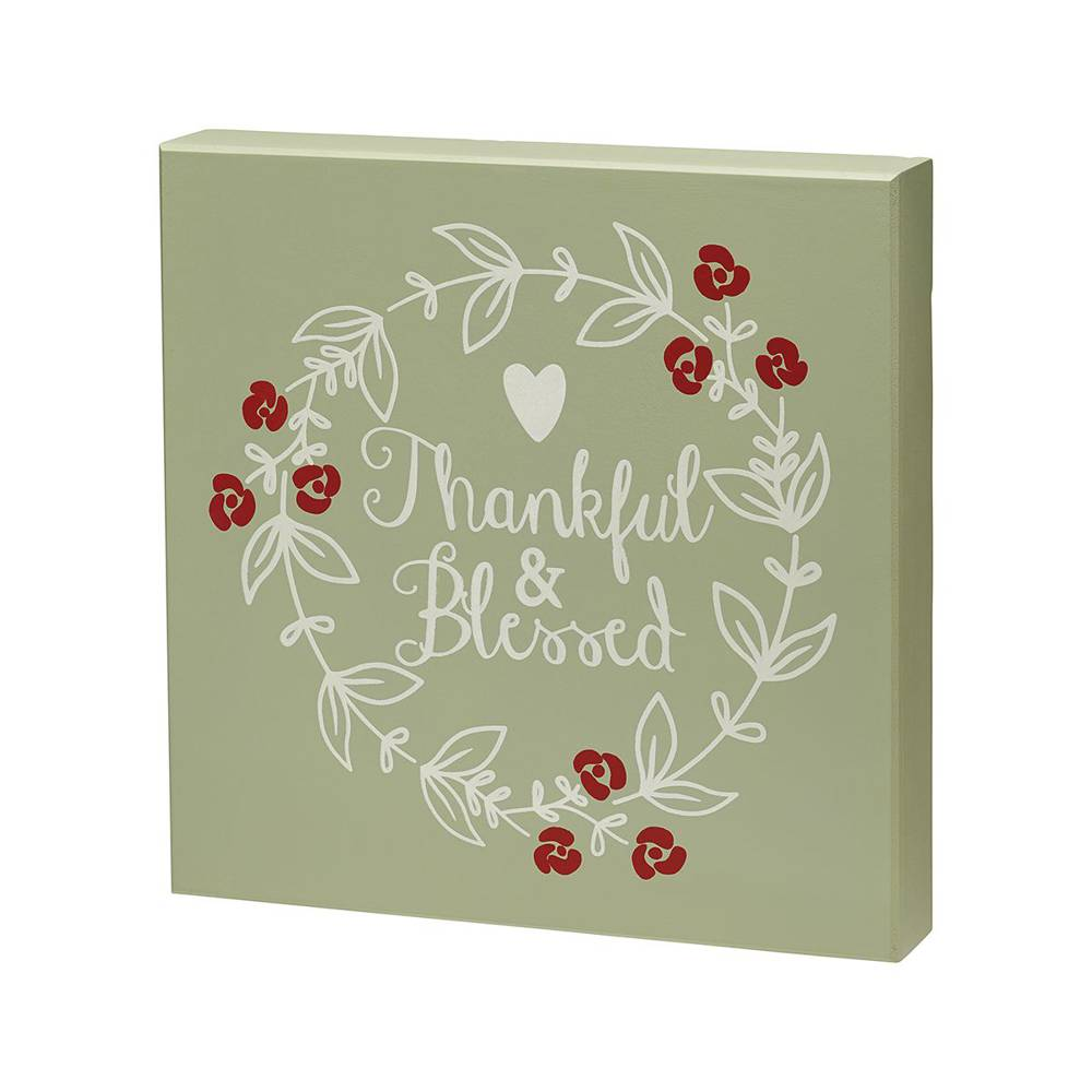 Thankful & Blessed Box Sign  cmas15b, box sign, box message holder, home decor, inspriational message, house gift, PS-4702
