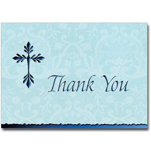 Blue Deluxe Thank You Notecards, Pkg/12