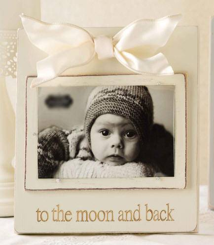 %27To the Moon and Back%27 Antique White Wood Frame baby frame, white baby frame, white wood frame,  new baby frame, baptism frame, christening frame, baptism gift, christening gift, new baby gift