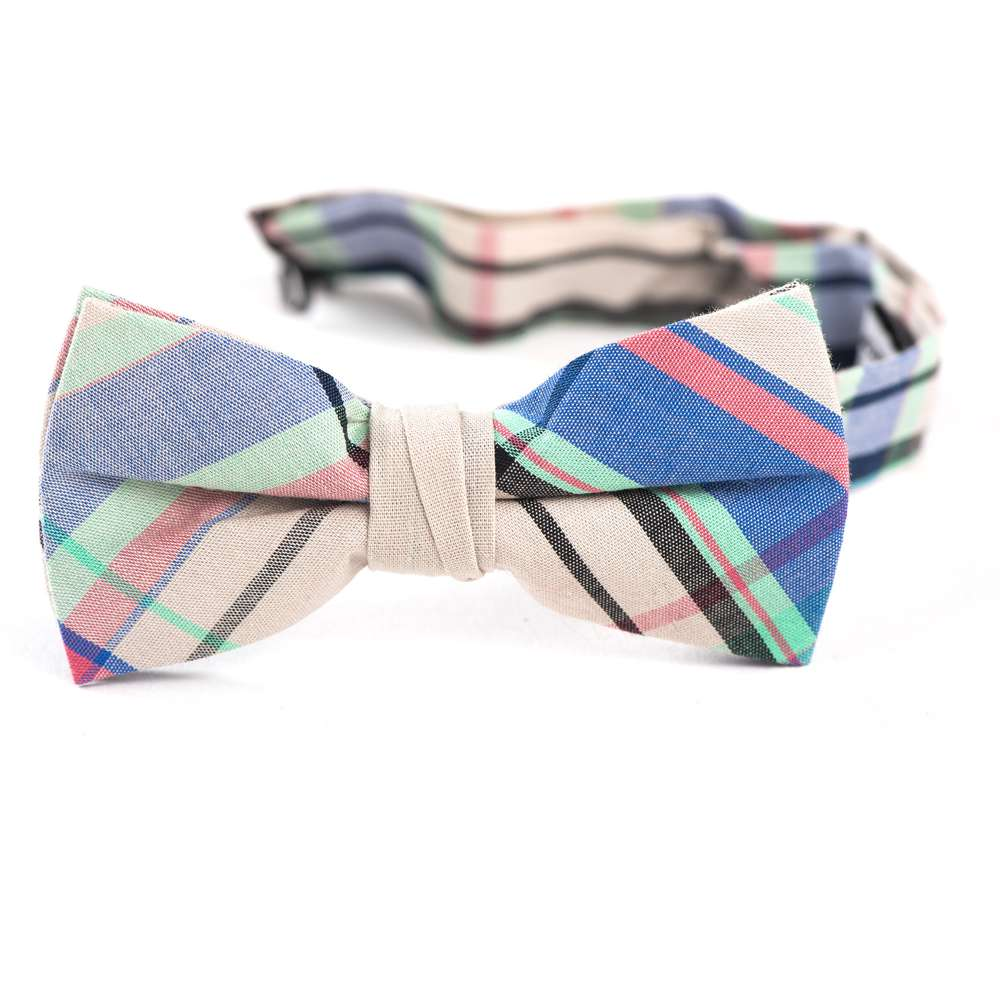 Grey, Blue, & Pink Plaid Bow Tie bow tie, bowtie, boys tie, first communion tie, boys first commuion apparel, first communion apparel, boys communion tie, boys tie, boy%27s tie, boys plaid tie, plaid tie, neckties