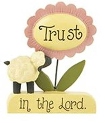 %27Trust in the Lord%27 Sheep and Flower on Base home decor, table decor, flower decor, flower on base.  trust message, inspirational decor, 1511-10120