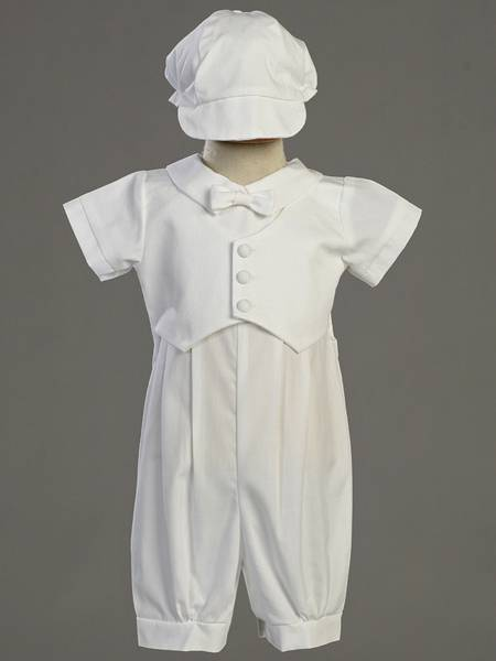 %27Tyler%27 Christening Cotton Romper with Pique Vest and Bonnet christening romper, christening oufit, christening suit, baptism romper, baptism outfit, baptism suit, boy suit, boy outfit,